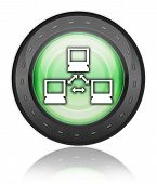 stock photo of vpn  - Icon Button Pictogram Image Illustration with Network symbol - JPG