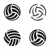 picture of volleyball  - Set of black vector volleyball ball abstract icons - JPG