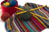 stock photo of knitting  - This photo shows the yarn for knitting yarn and fabric related - JPG