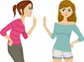 Illustration of Two Female Teenagers Arguing