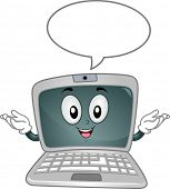 Mascot Illustration Featuring a Laptop with a Speech Bubble Hovering Above