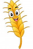 Mascot Illustration of a Wheat Stalk Smiling Happily
