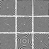 Set of patterns in op art design. Vector art.