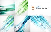 Mega collection of straight line abstract vector backgrounds with copy space. For business / tech de