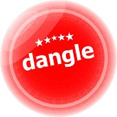 Dangle Word On Red Web Button, Label, Icon
