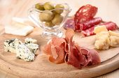 Italian antipasto with ham olive cheese and salami