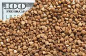 Buckwheat grains on bank note