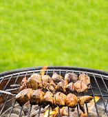 picture of barbie  - Delicious grilled chicken skewers on fire - JPG