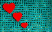 Valentines Day Background. Red Hearts On Green Fabric Material