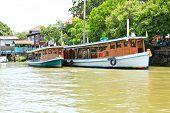 Boats On Chao Phraya River ,nonthaburi ,thailand.