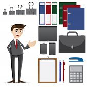 Cartoon Businessman With Set Of Office Accessories
