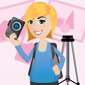 Cartoon Cute Photographer With Camera And Tripod