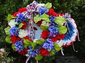 Wreath on Memorial Day at military memorial