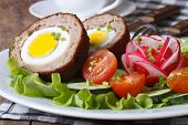 Meat Stuffed With Egg And Vegetable Salad