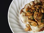 stock photo of hamburger-steak  - chopped steak with cheese and sauteed mushrooms - JPG