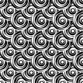 stock photo of uncolored  - Design seamless monochrome circle pattern - JPG