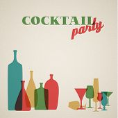 Vector Retro Coctail party invitation card with glasses and bottles