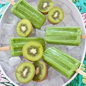 Green Popsicles With Fresh Kiwi