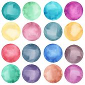Watercolor circles collection  in pastel colors. Watercolor stains set isolated on white background.