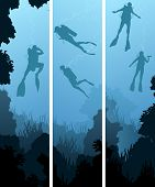 Set Banners Of Divers Under Water.