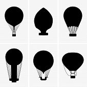 image of gey  - Set of six Hot air balloons on gey background - JPG
