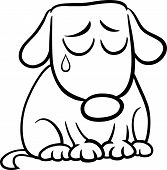 Sad Dog Cartoon Coloring Page