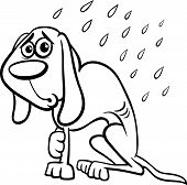 picture of emaciated  - Black and White Cartoon Illustration of Poor Homeless Dog in the Rain for Coloring Book - JPG