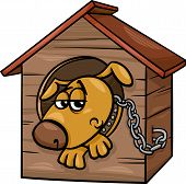 Sad Dog In Kennel Cartoon Illustration