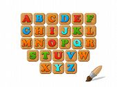 ABC on wooden blocks funny kid vector set