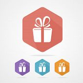 Gift box sign vector icon. Present