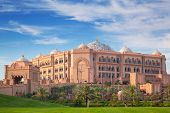 ABU DHABI, UAE - MARCH 29: Emirates Palace and gardens in Abu Dhabi on March 29, 2014, UAE. Five sta