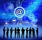 Concept of e-mail and cloud computing.