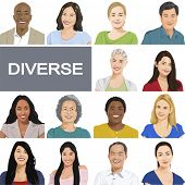Diverse People on White Background.