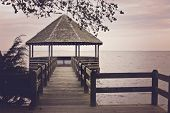 Soft, hazy view of the gazebo in Heritage Park in Corolla, North Carolina.  This is a popular touris