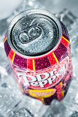 MOSCOW, RUSSIA-APRIL 4, 2014: Can of Dr Pepper Cherry Vanilla soft drink on ice. Dr Pepper is a soft