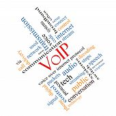 foto of voip  - VOIP Word Cloud Concept angled with great terms such as voice internet protocol and more - JPG