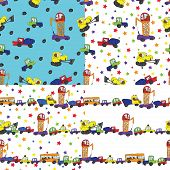 Child's Hand Draw Cars.funny Cartoon Doodle Seamless Pattern