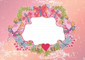 Stylish Vintage Floral Frame With Butterflies And Dragonfly