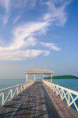 Romantic Water Pavilion And Bridge Over Sea