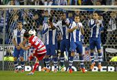 BARCELONA-APRL, 27: RCD Espanyol players on the wall of the free kick launched by UD Almeria during