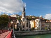 Lyon, France - View Of Vieux Lyon, Saone River, Fourviere And Saint-georges Church