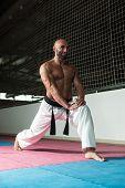 Martial Arts Man In Kimono Exercising Karate
