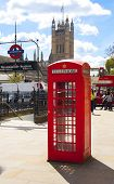 LONDON, UK - MAY 14, 2014  Big Ben, red telephone box and Houses of Parliament, London Westminster