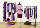 picture of shoe-box  - Dressing closet with all shades of violet clothes - JPG