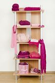 Pink clothes nicely arranged on a shelf.