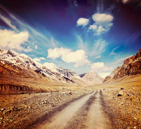 foto of himachal  - Vintage retro effect filtered hipster style travel image of Road in mountains  - JPG