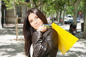 pretty woman with shopping bags