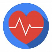 Heartbeat Sign Icon. Cardiogram Symbol. Circle Buttons With Long Shadow. Vector