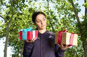 woman choosing gift