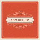 Christmas retro typography and ornament decoration. Merry Christ